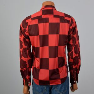 Medium 2000s Mens Shirt Red And Burgundy Checker Novelty Apple Print Silky Long Sleeve Button Down - Fashionconstellate.com