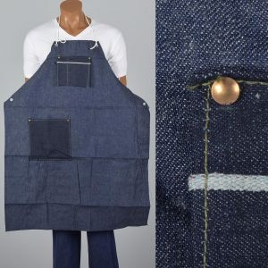 1950s Selvedge Denim Apron Deadstock Heavy Duty Cotton Workwear Smock Industrial