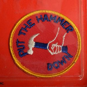 1970s Put The Hammer Down Sew On Patch Long Haul Trucker