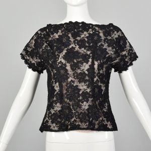 Small Black Top 1990s Floral Lace Short Sleeve Blouse