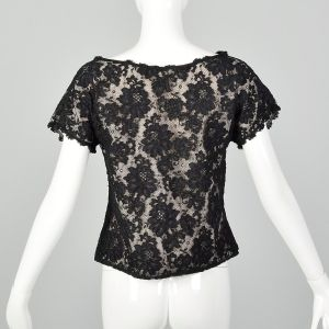 Small Black Top 1990s Floral Lace Short Sleeve Blouse - Fashionconstellate.com