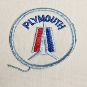 1970s Plymouth Auto Round Sew On Patch Automotive Applique