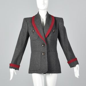 Medium 1980s Yves Saint Laurent Rive Gauche Gray Wool Jacket Red Braid Trim