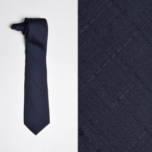 1960s Navy Blue Silk Necktie Textured Medium Width Neck Tie