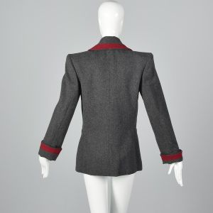 Medium 1980s Yves Saint Laurent Rive Gauche Gray Wool Jacket Red Braid Trim  - Fashionconstellate.com