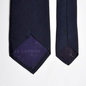 1960s Navy Blue Silk Necktie Textured Medium Width Neck Tie - Fashionconstellate.com