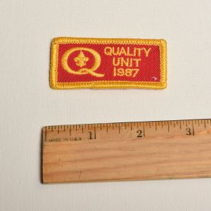 1980s Quality Unit 1987 Red Embroidered Sew On Patch Yellow Applique - Fashionconstellate.com
