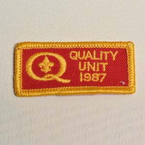 1980s Quality Unit 1987 Red Embroidered Sew On Patch Yellow Applique