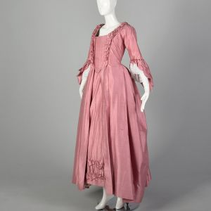 XS Reproduction 1780s Robe A L'Anglais Dress Tucked Box Pleat Petticoat Embroidered 5pc Repro - Fashionconstellate.com