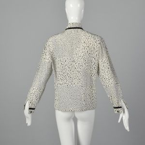 Small 1980s Louis Feraud Printed Blouse White Black Abstract Design Button Up Shirt - Fashionconstellate.com
