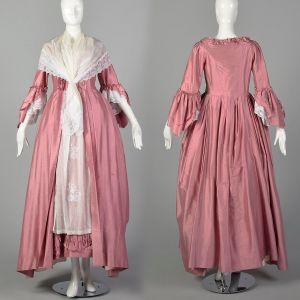 XS Reproduction 1780s Robe A L'Anglais Dress Tucked Box Pleat Petticoat Embroidered 5pc Repro