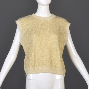 XL Cream Sweater Vest 1970s Sparkly Metallic Gold Ribbed Knit Trim Sleeveless Oversized Top