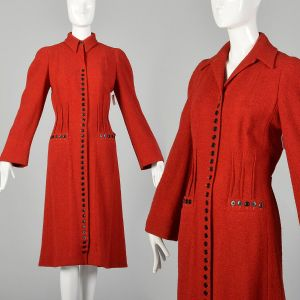 Medium 1930s Red Chunky Wool Tweed Coat Dress Black Buttons Winter Outerwear