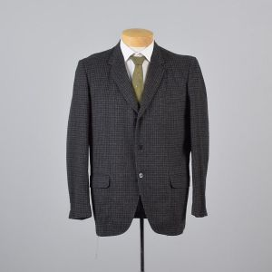 Large 42S Mens 1950s Blazer Gray Navy Blue Check Plaid Tweed Three Button Sportcoat Jacket