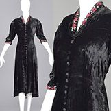 Medium 1930s Black Velvet Dress Floral Beading Embroidery Trim Art Deco Glamour