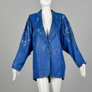 1980s Oversized Blue Leather Jacket Abstract Metallic Silver Paint Batwing Sleeves