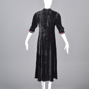 Medium 1930s Black Velvet Dress Floral Beading Embroidery Trim Art Deco Glamour - Fashionconstellate.com