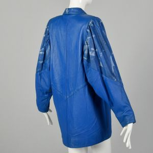 1980s Oversized Blue Leather Jacket Abstract Metallic Silver Paint Batwing Sleeves - Fashionconstellate.com
