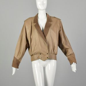 Small 1980s Oversized Taupe Leather Jacket with Batwing Sleeves