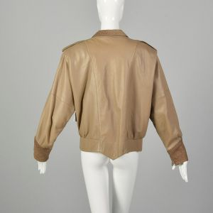 Small 1980s Oversized Taupe Leather Jacket with Batwing Sleeves - Fashionconstellate.com