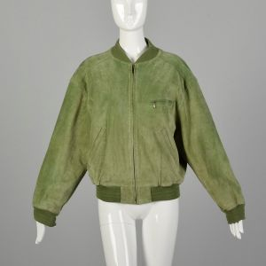 Small 1980s Green Suede Bomber Jacket with Ribbed Knit Trim