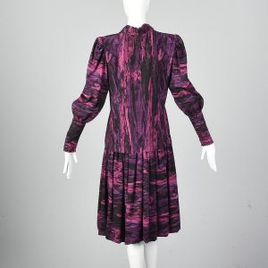 Medium 1980s Pauline Trigere Dress Black and Magenta Drop Abstract Print Waist Bishop Sleeves - Fashionconstellate.com