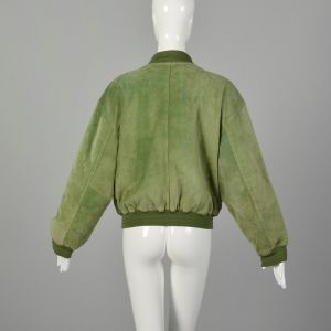 Small 1980s Green Suede Bomber Jacket with Ribbed Knit Trim - Fashionconstellate.com