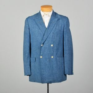 Medium 1960s Heathered Blue Jacket Mod Double Breasted Summer Weight Blazer