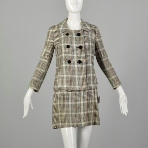 XS 1960s Set Brown Plaid Skirt Double Breasted Jacket Theatre Costume Ensemble