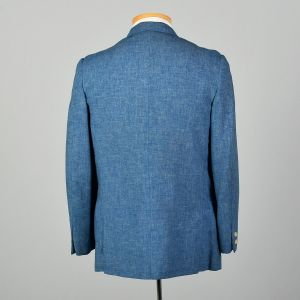 Medium 1960s Heathered Blue Jacket Mod Double Breasted Summer Weight Blazer - Fashionconstellate.com