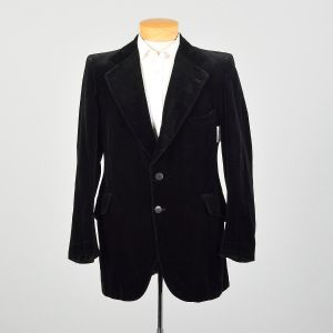 1970s Black Velvet Jacket Two Button Slim Lapel Coat