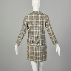 XS 1960s Set Brown Plaid Skirt Double Breasted Jacket Theatre Costume Ensemble - Fashionconstellate.com