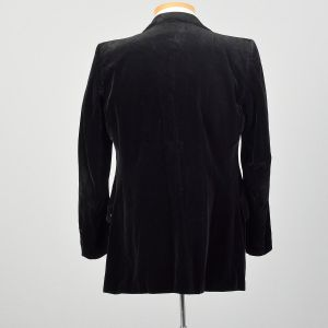 1970s Black Velvet Jacket Two Button Slim Lapel Coat - Fashionconstellate.com