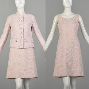 Small 1960s Set Pink As-Is Dress Jacket Theatre Costume Ensemble