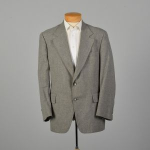 Large 1970s Keith Carlton Gray Jacket Wide Lapel Blazer Coat