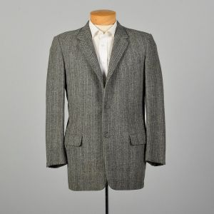 1950s Mens Wool Tweed Jacket Gray Stripe Coat