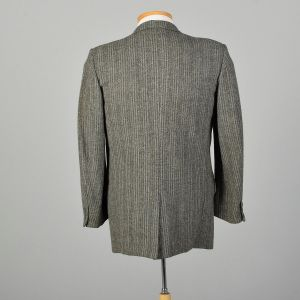 1950s Mens Wool Tweed Jacket Gray Stripe Coat - Fashionconstellate.com