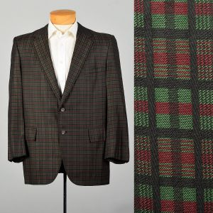 44S 1960s Plaid Jacket Red Sport Coat Green Holiday Slim Lapel Christmas Two Button