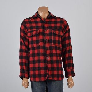 Medium Mens 1950s Shirt Red and Black Buffalo Check Plaid Hunting Button Down Long Sleeve