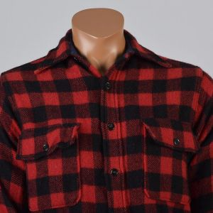 Medium Mens 1950s Shirt Red and Black Buffalo Check Plaid Hunting Button Down Long Sleeve - Fashionconstellate.com