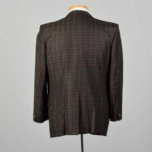44S 1960s Plaid Jacket Red Sport Coat Green Holiday Slim Lapel Christmas Two Button - Fashionconstellate.com