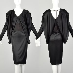 Small 1980s Dress Black Batwing Sleeve Cocoon Disco Knit