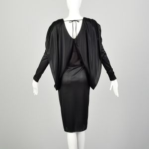 Small 1980s Dress Black Batwing Sleeve Cocoon Disco Knit - Fashionconstellate.com