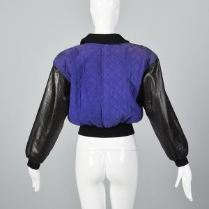 Small 1990s Escada Black Leather Jacket Purple Quilted Suede Oversized Outerwear - Fashionconstellate.com