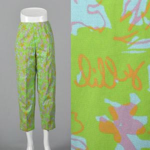 Medium 1960s Cigarette Pants Lilly Pulitzer Signature Print Green Aqua Pink Floral