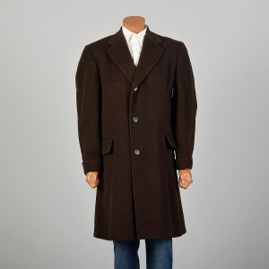 XL 1960s Mens Cashmere Coat Winter Chocolate Brown Soft Heavyweight