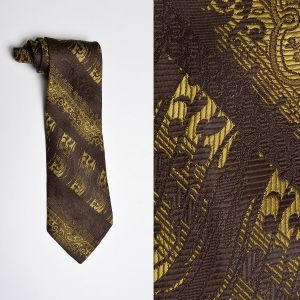 1970s Brown Textured Necktie Gold Extra Wide Neck Tie
