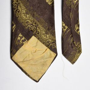 1970s Brown Textured Necktie Gold Extra Wide Neck Tie - Fashionconstellate.com