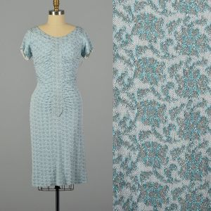 Small 1960s Blue and White Lurex Knit Floral Print Dress