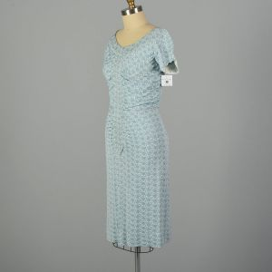 Small 1960s Blue and White Lurex Knit Floral Print Dress - Fashionconstellate.com